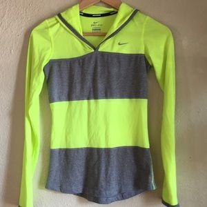Nike Neon Yellow Green Gray Hooded Running Shirt